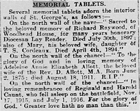 Barnsley Chronicle Records Barnsley War Memorials Project Jump St Georges Church R And H Caunt