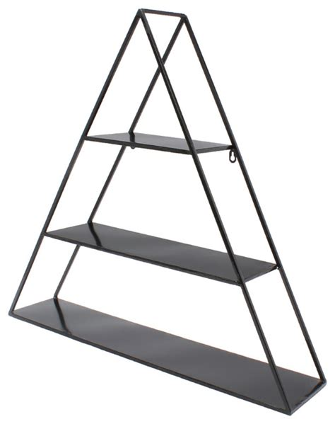Triangle Wall Shelf tildan 3 tier triangle floating metal wall shelf black