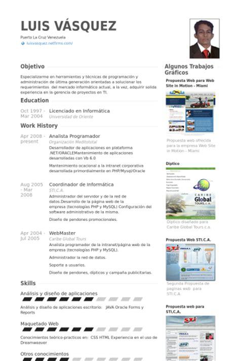 Modelo Curriculum Vitae Analista Programador Analista Programador Ejemplo De Curr 237 Culum Base De Datos De Visualcv Muestras De Curr 237 Culos