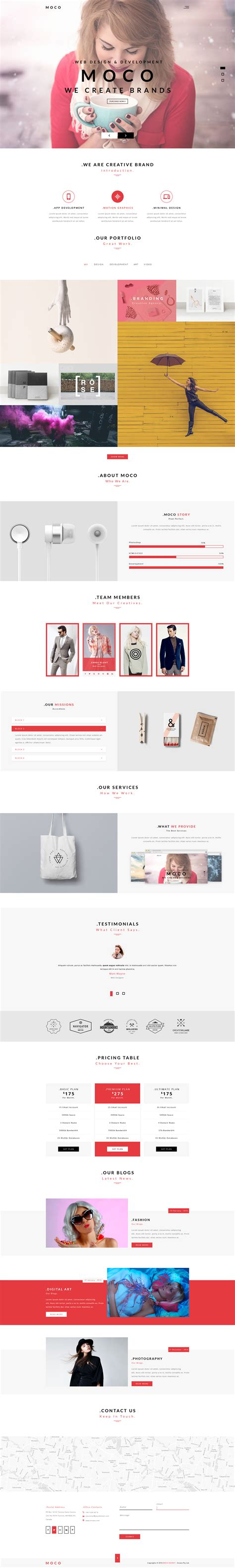 The Agency V1 4 Creative One Page Agency Theme moco agency creative one page template by designsninja themeforest