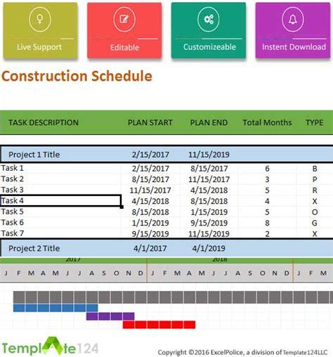 Construction Project Schedule Template by Construction Schedule Template Excel For Project
