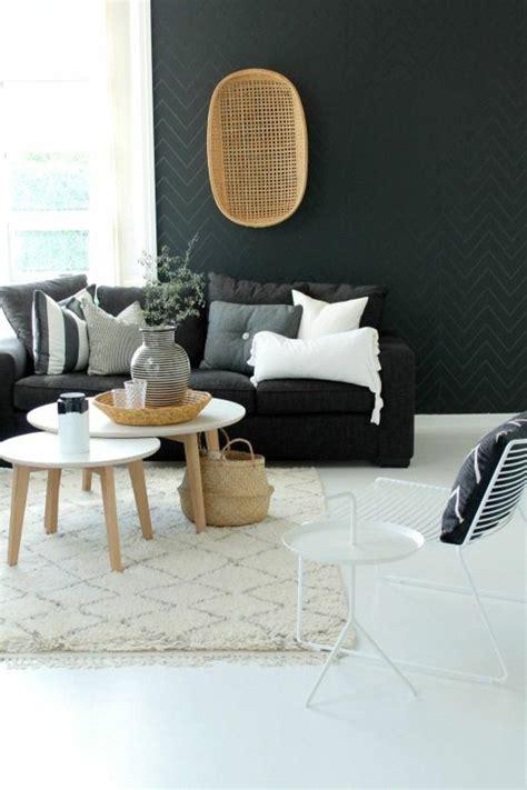 canapé gris et noir d 233 co salon deco nordique avec tapis beige et canap 233 gris