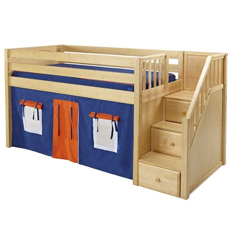 low loft bed with stairs quot great quot hardwood low loft bed with stairs in 3 finishes