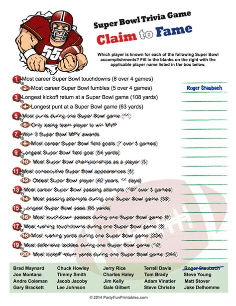 printable version of bowl games printable super bowl trivia game claim to fame