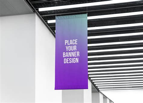 Banner Indoor free indoor advertising hanging wall banner mockup psd