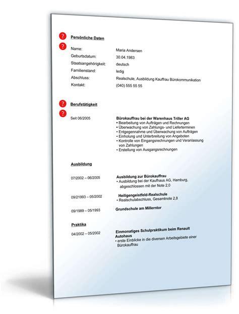 Lebenslauf Muster Agentur F R Arbeit lebenslauf b 252 rokauffrau muster zum