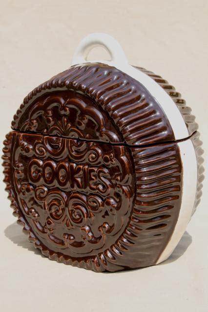 Kitchen Ceramic Canisters Retro Vintage Handmade Ceramic Cookie Jar Giant Oreo