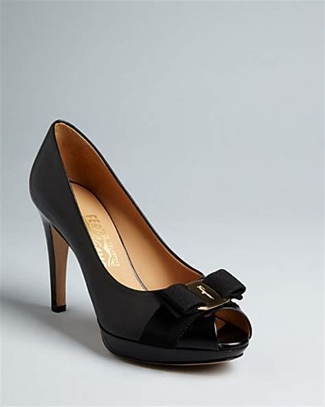 ferragamo high heels ferragamo pumps talia high heel peep toe platform in black