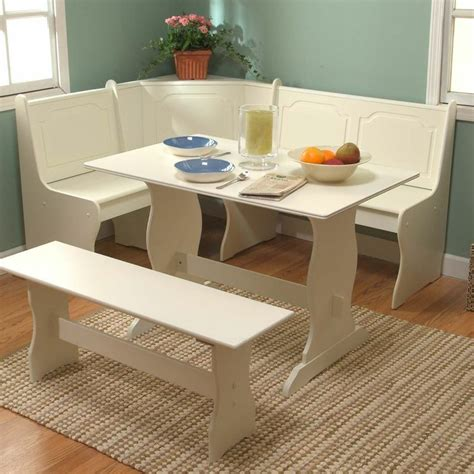 white corner dining set breakfast nook bench table kitchen