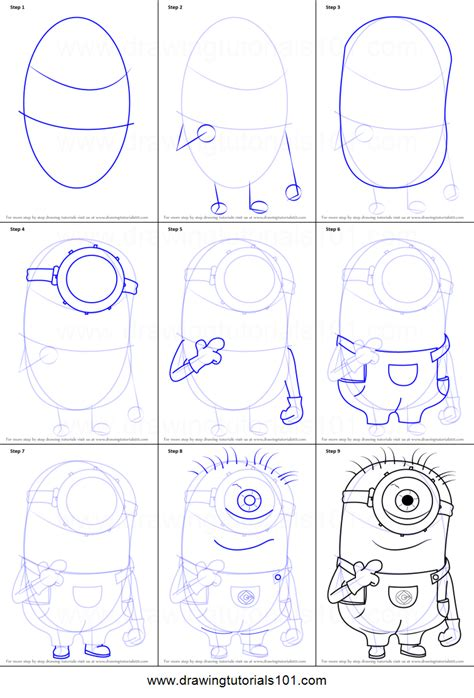 steps on how to draw doodle how to draw stuart from minions printable step by step
