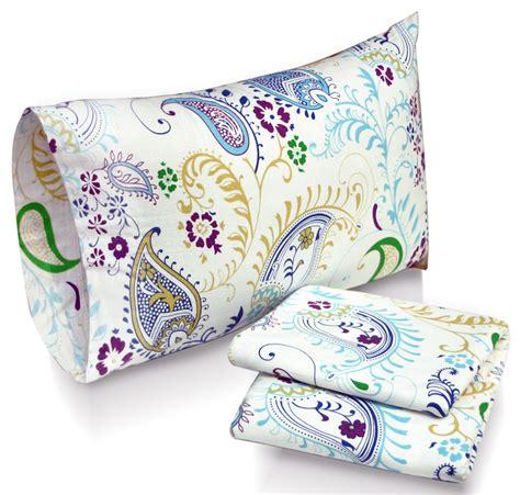 paisley bed sheets paisley garden printed deep pocket flannel sheet set at