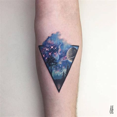 watercolor tattoo universe space inside triangle small tattoos
