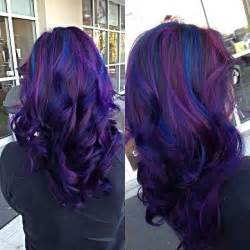Chic new hair color from salon202 pravana purple and blue highlights