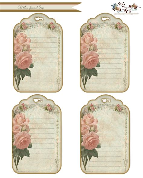 printable journal tags glenda s world old rose journal tags