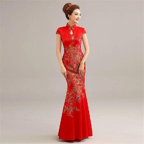 Mutan Cheongsam Dress Cina Imlek Merah modis baru 2014 musim dingin baju cheongsam qipao panjang merah pakaian tradisional cina