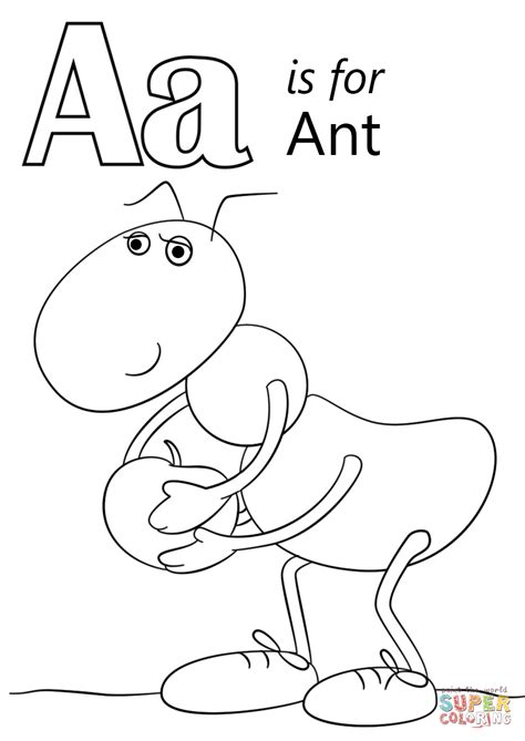 letter a coloring pages letter a is for ant coloring page free printable