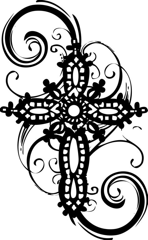 ornate cross tattoo flourish concept cake templates