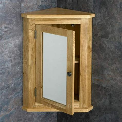 oak wall mounted corner 60cm bathroom mirror cabinet