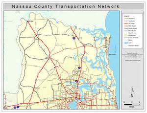 map of nassau county florida nassau county road network color 2009