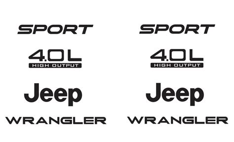 jeep wrangler sport logo jeep sport 03 06 vinyl refresh kit tj 4 0l stickers emblem