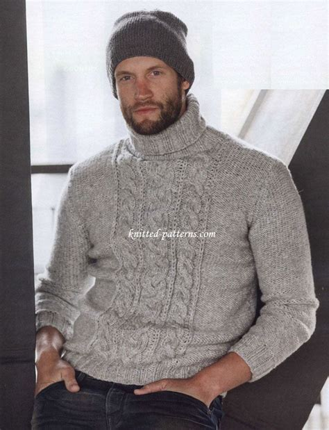 Cable Knit Turtleneck Sweater Pattern | pullover with cable panel free pattern timeless cable