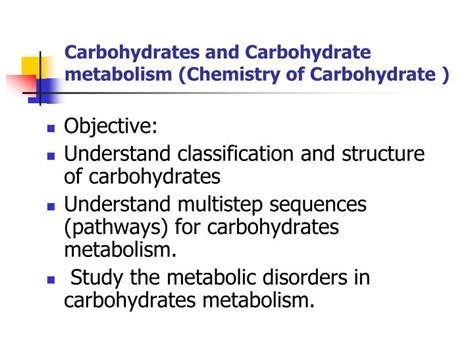 carbohydrates metabolism ppt carbohydrates and carbohydrate metabolism chemistry