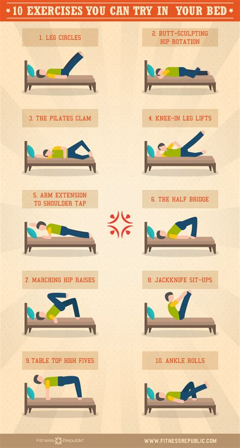 exercises you can do in your bedroom 10 exercises you can try in your bed visual ly