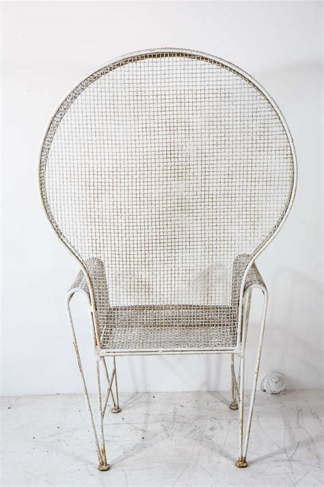 pair of large hooded wire outdoor chairs at 1stdibs