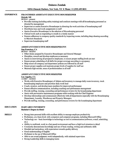 resume format for executive housekeeper assistant executive housekeeper resume sles velvet