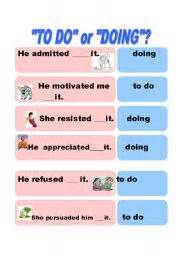 gerund or infinitive do to do doing page 3 of 4 english teaching worksheets gerunds and infinitives