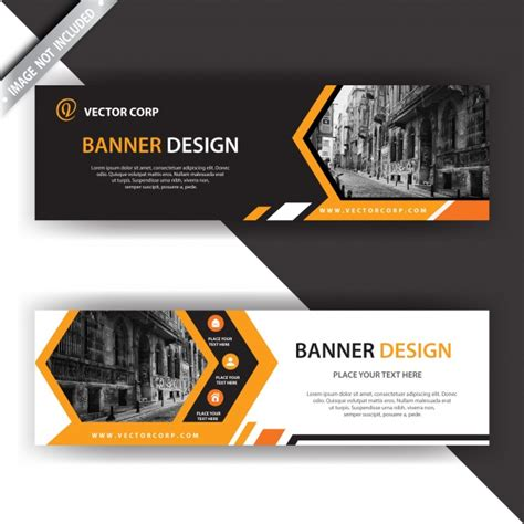 layout e banner black and orange banner vector free download