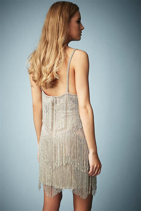 Kate Moss Premieres Dresses For Topshop by Lyst Topshop Beaded Fringe Tiered Dress By Kate Moss For
