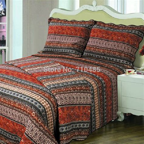 quilted bedding sets 100 cotton free shipping red orange stripe bohemian