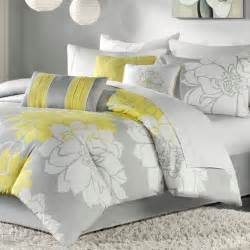 Queen Size Coverlet Sets Queen 7 Piece Bed In A Bag Grey And Yellow Floral