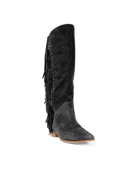 polo ralph julianna fringed suede boot in black lyst
