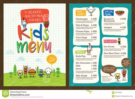 kid menu template doc 700490 free template menu vector free