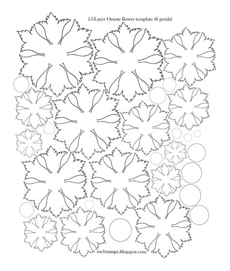 flower template with 6 petals mel stz 6 petal ornate flower template