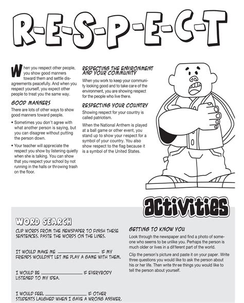 printable worksheets on respect grand forks high school students teach respect caring at
