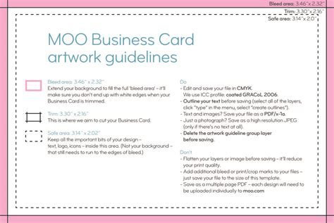 how to create template business card in pdf moo product templates moo support