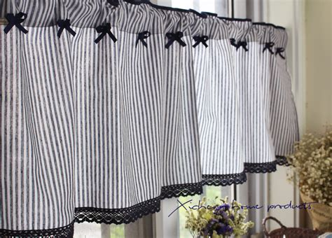 striped cafe curtains mediterranean french country rustic stripe kitchen cafe