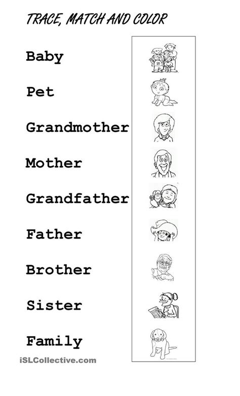 Esl Worksheets Pdf by Printables Exercises For Family Members Pdf