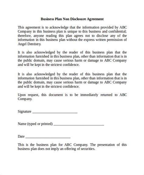 business plan non disclosure agreement template sle non disclosure agreement 20 documents in pdf word