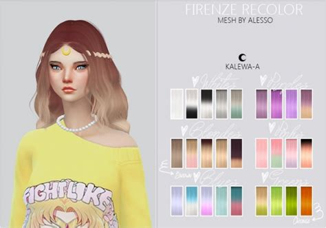 firenze hair recolor  kalewa  sims  updates