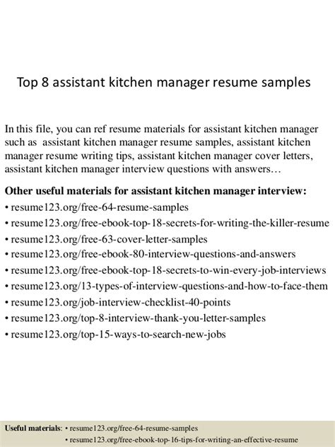Kitchen Assistant Sle Resume Top 8 Assistant Kitchen Manager Resume Sles