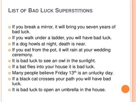 common superstitions superstitions