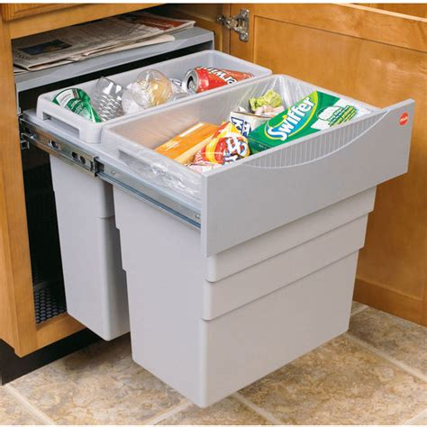 kitchen cabinet waste bins hafele easy cargo 50 quot double built in pull out waste bin