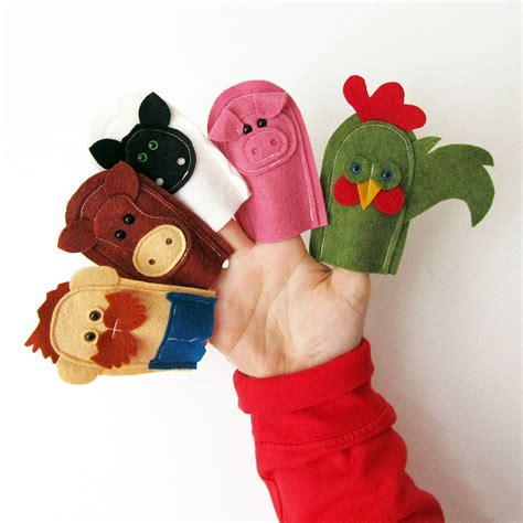 Handmade Finger Puppets - handmade felt farmer and farm animal finger puppets by