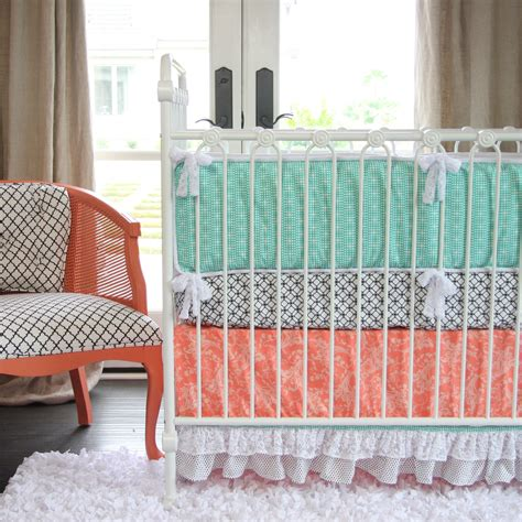 coral baby bedding giveaway caden crib bedding set project nursery