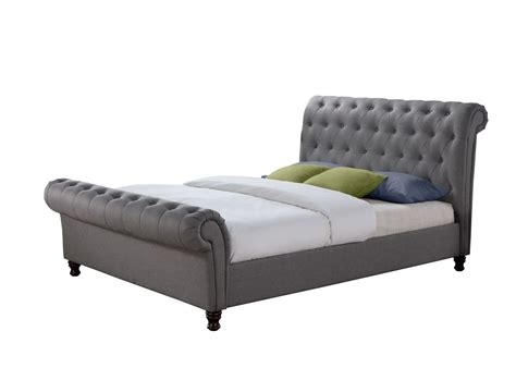 Grey Sleigh Bed King Size Chesterfield Sleigh Grey Fabric 5ft 150cm King