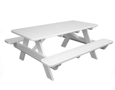 white bench table 6 polywood picnic table w attached benches